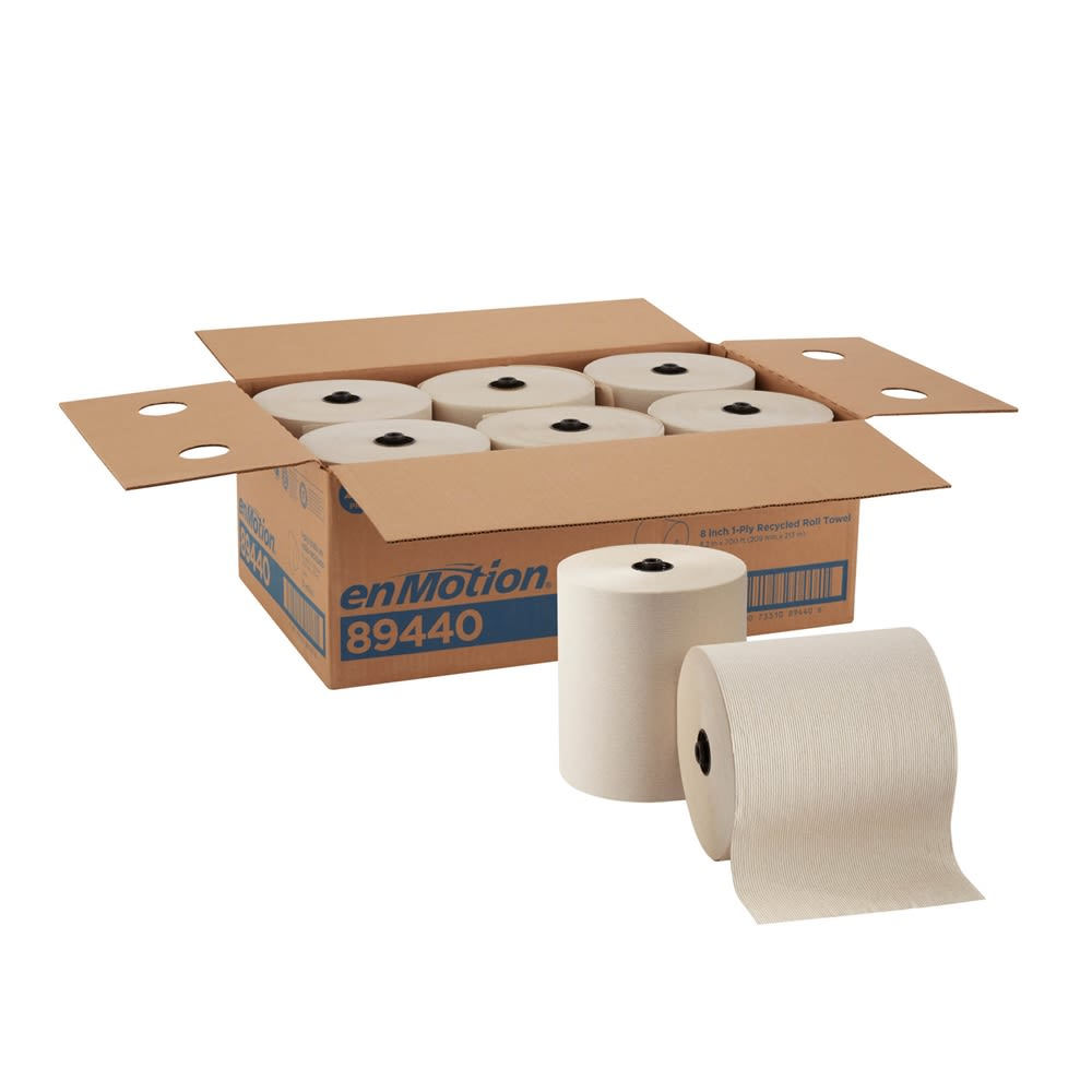 enMotion 8in Recycled Paper Towel Roll by GP PRO, Brown, 700 Feet Per Roll, 6 Rolls Per Case