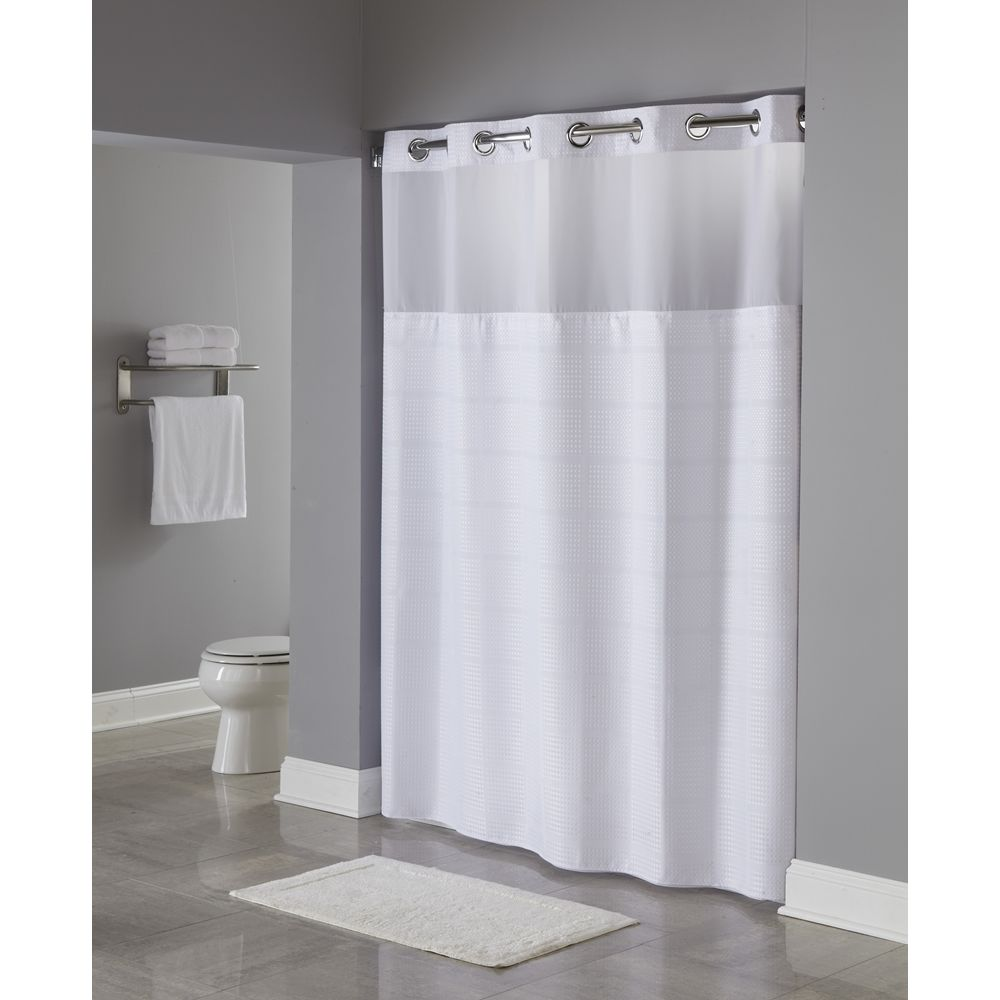 "Hookless® Alexandria RePET Shower Curtain with Snap-in Liner, 71""x77"", White"