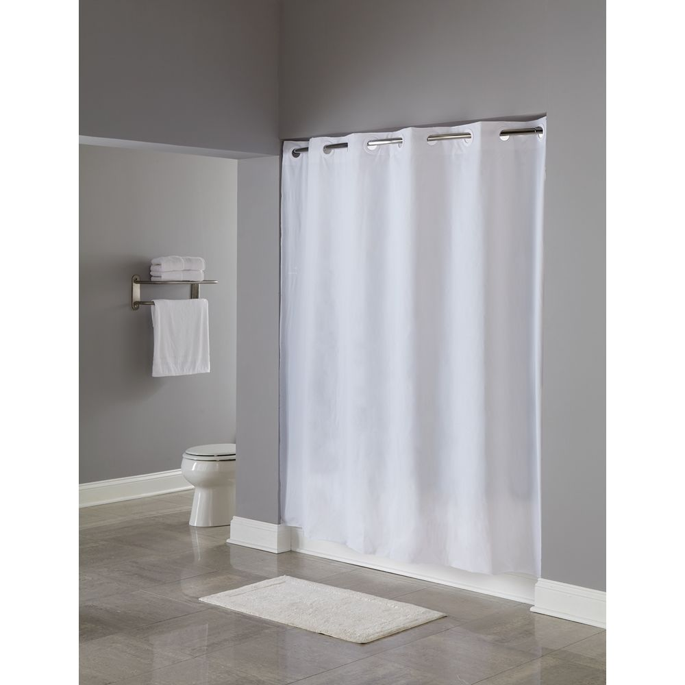 "Hookless® PEVA Shower Curtain, Weighted Corner Magnets, 71""x74"", White"