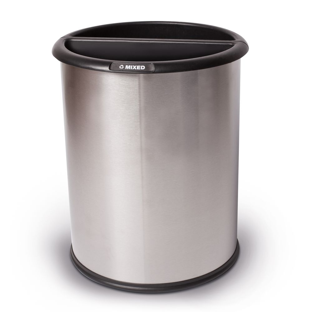 InnRoom Recycling Wastebasket, 12.8 Quart, Stainless Steel