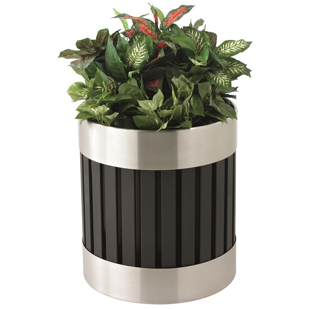 "Commercial Zone® ArchTec Series Riverview Planter, 19"" x14"", Stainless Steel/Black"