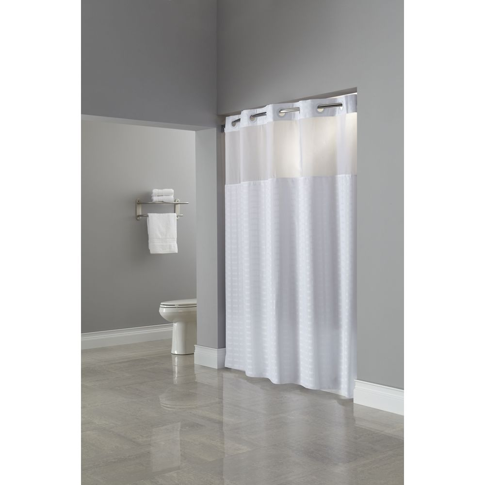 "Hookless® Madison Shower Curtain, Polyester, 71""x74"", White"