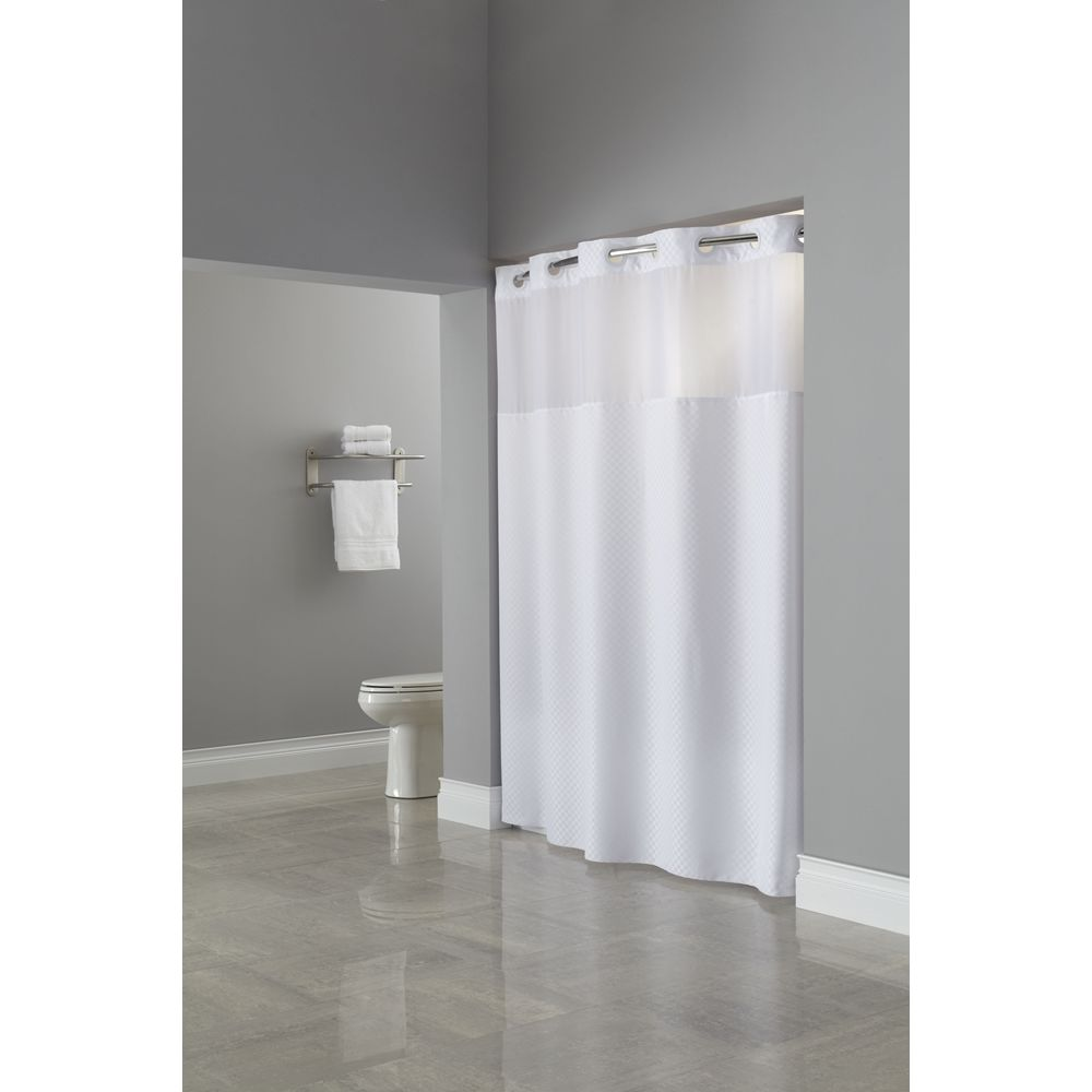 "Hookless® Daytona RePET Shower Curtain, 71""x77"", White"