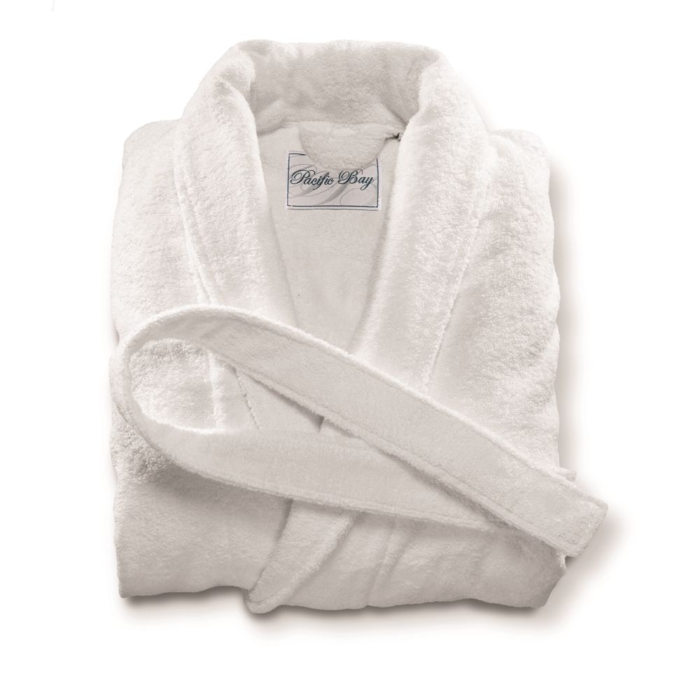 Pacific Bay Terry Robe, Shawl Collar, 100% Cotton, 52in L, 12oz, White