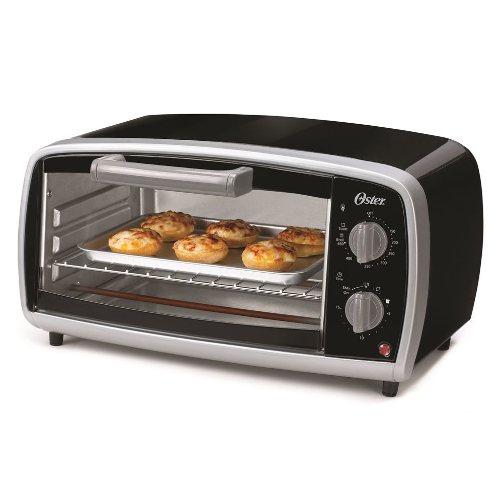 Oster® Vega 4-Slice Toaster Oven with Baking Pan, Black with Silver Accents