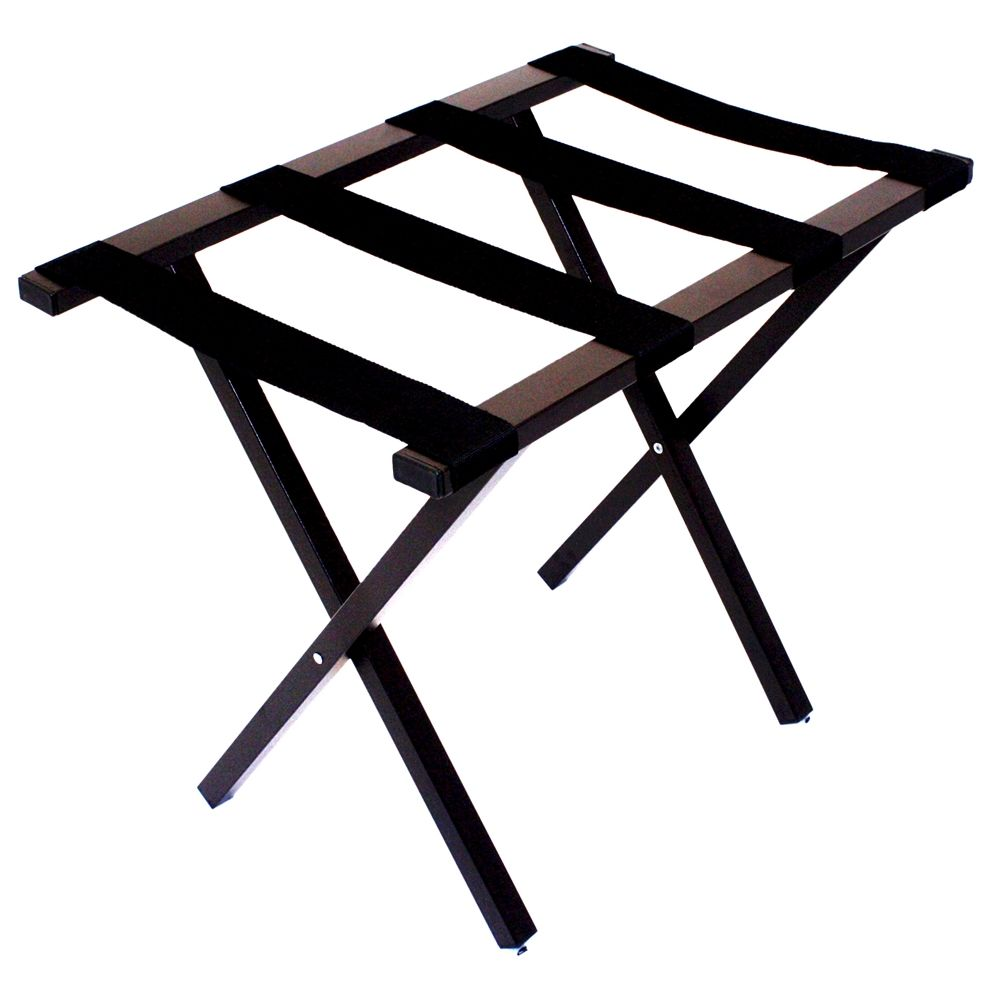 Flat Top Metropolitan Luggage Rack, Powder Coat Brown Finish with Black Straps