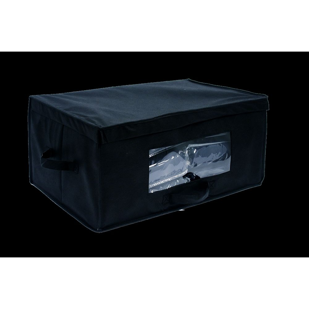 Blanket Box, Front & Side Carry Handles, Clear PVC Window, Black Fabric