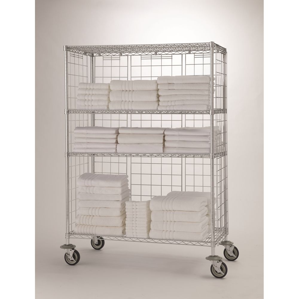 Focus Linen Cart Kit, 4 Shelves, 24Wx36Lx69H, Chromate Finish