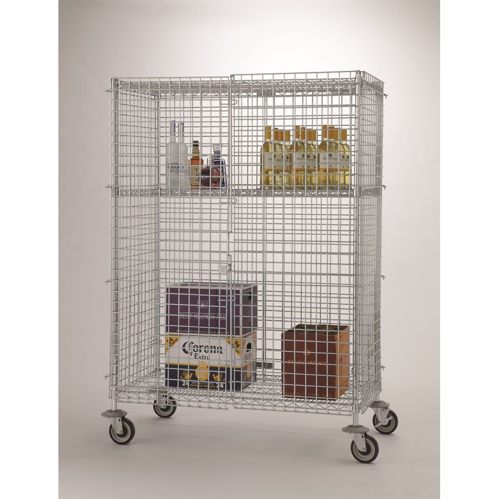 Focus Foodservice Mobile Security Cage, 3 Shelves, 24Wx36Lx63H, Chromate Finish