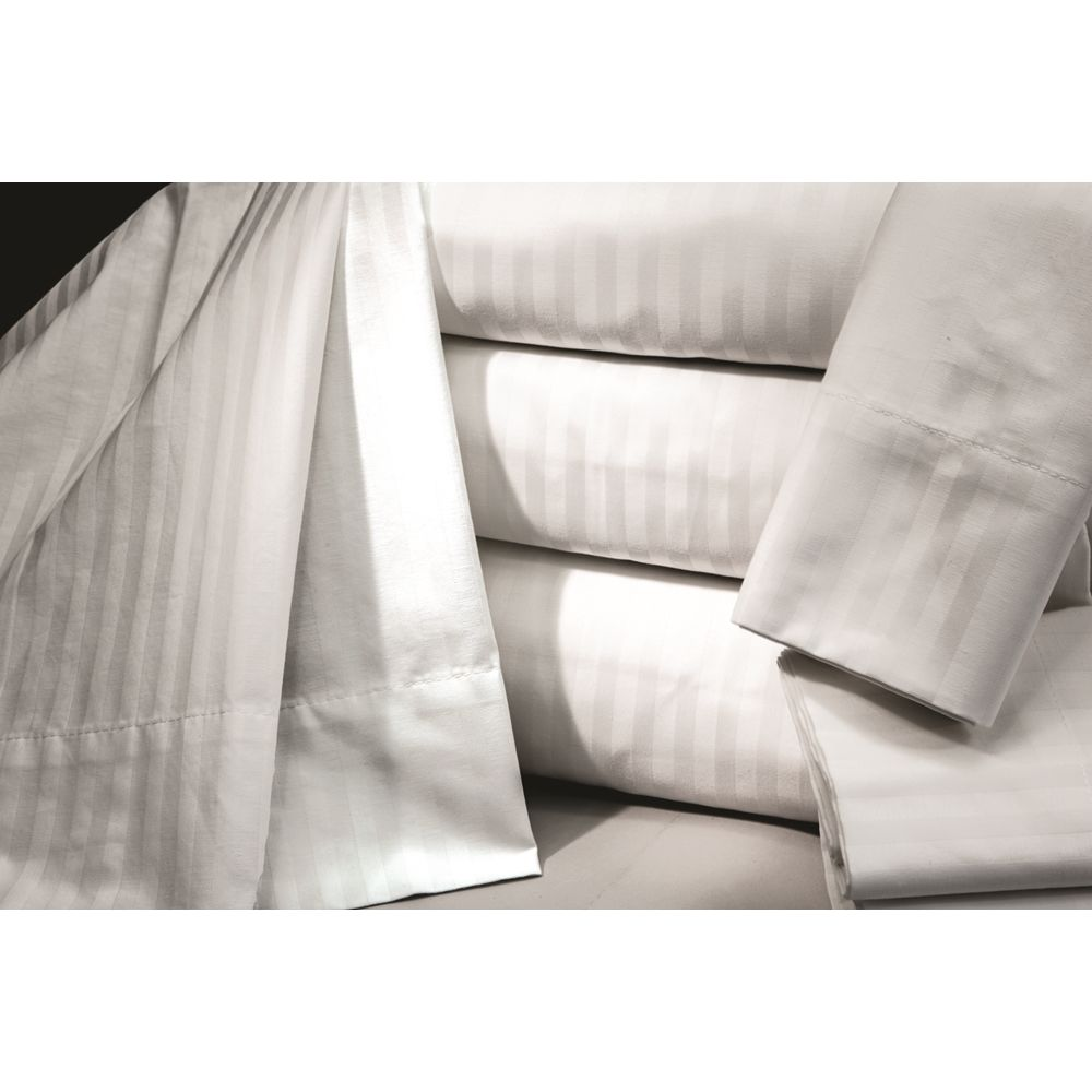 Connoisseur T300 Blend Woven Stripe, Queen Pillowcase, 46x40 CS, White