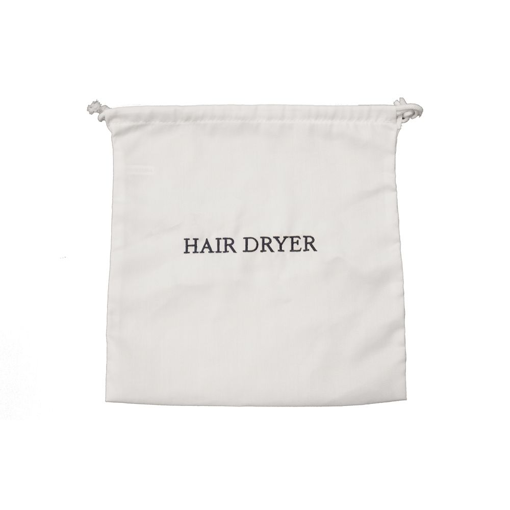 Hair Dryer Bag, White with Navy Embroidery