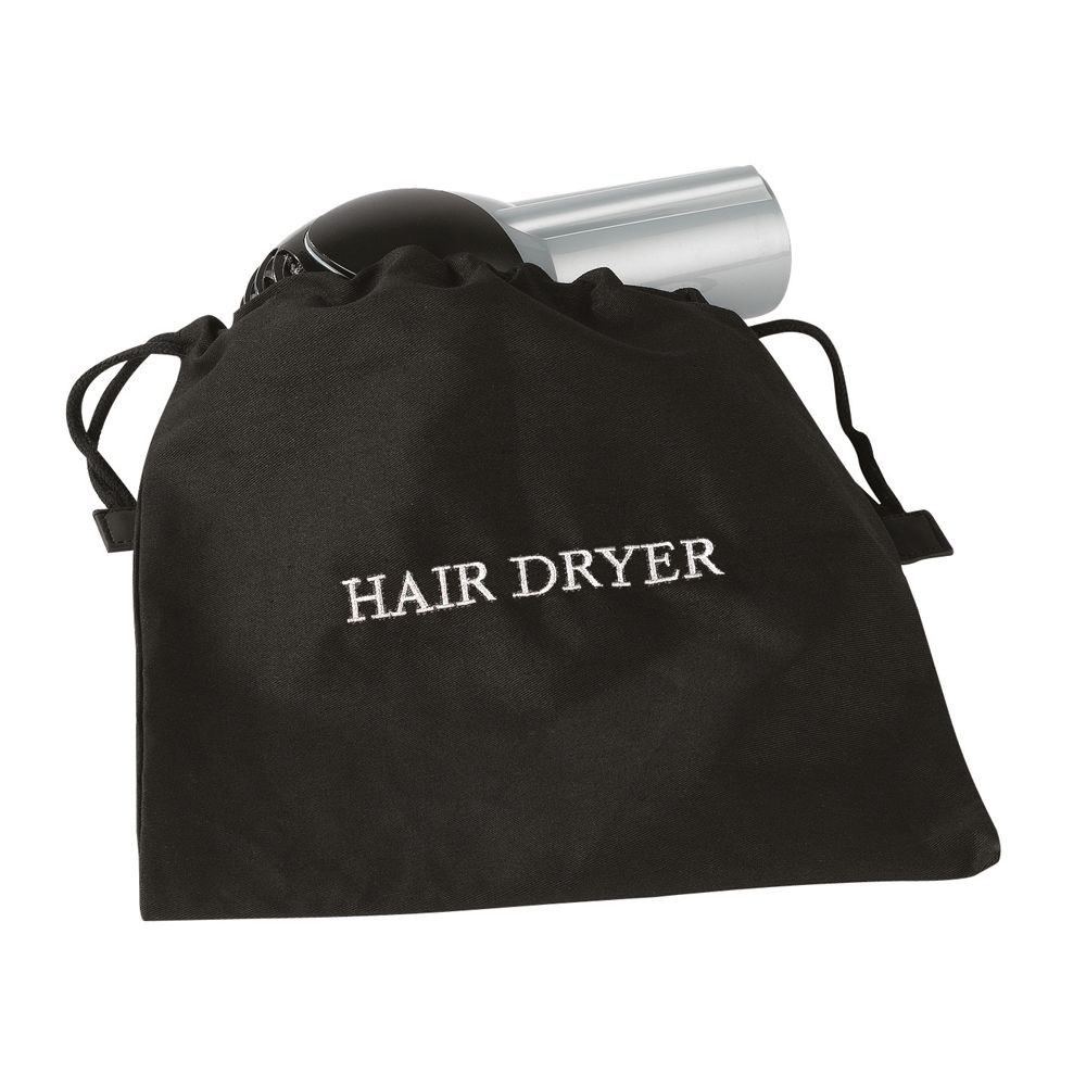Hair Dryer Bag, Fire Retardant Fabric, Black Bag with White Embroidery