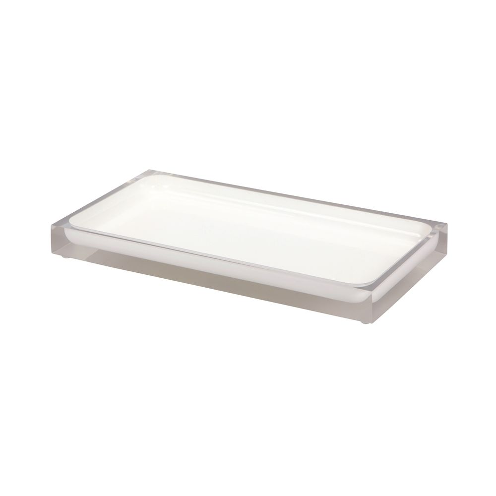 Cubix White Collection, Resin Amenity Tray, Clear/White Accent