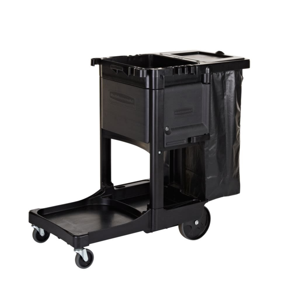 Rubbermaid® Executive Janitorial Cleaning Cart Traditional, 45.89 x 21.78 x 38.44, Black