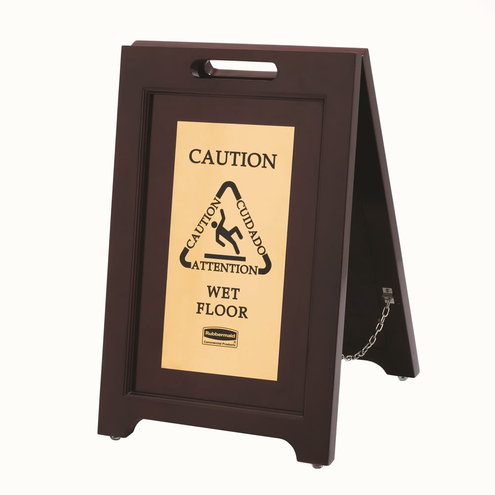 Rubbermaid® Executive Series® 22 In. Wooden Multilingual Caution Sign, 2 Sided, Dark Wood and Gold