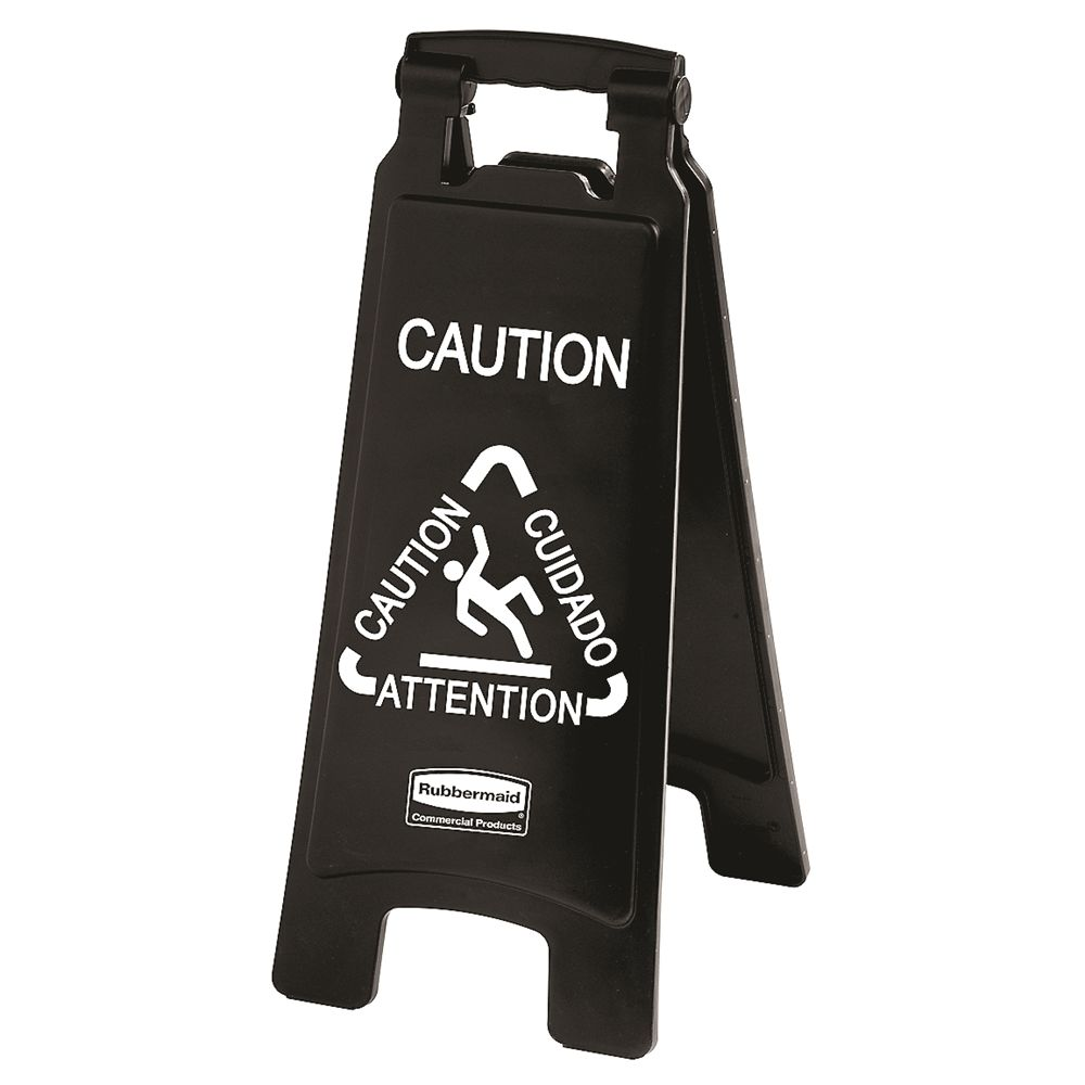"Rubbermaid® Executive Series® 26 In Multilingual ""Caution"" Sign, 2-Sided, Black"