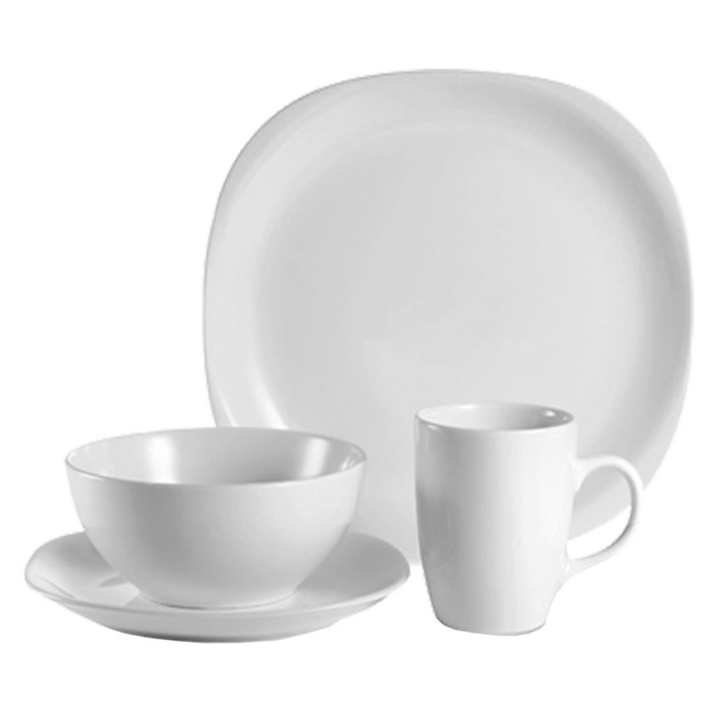 Quadro Dinnerware Set, 16-Piece, White