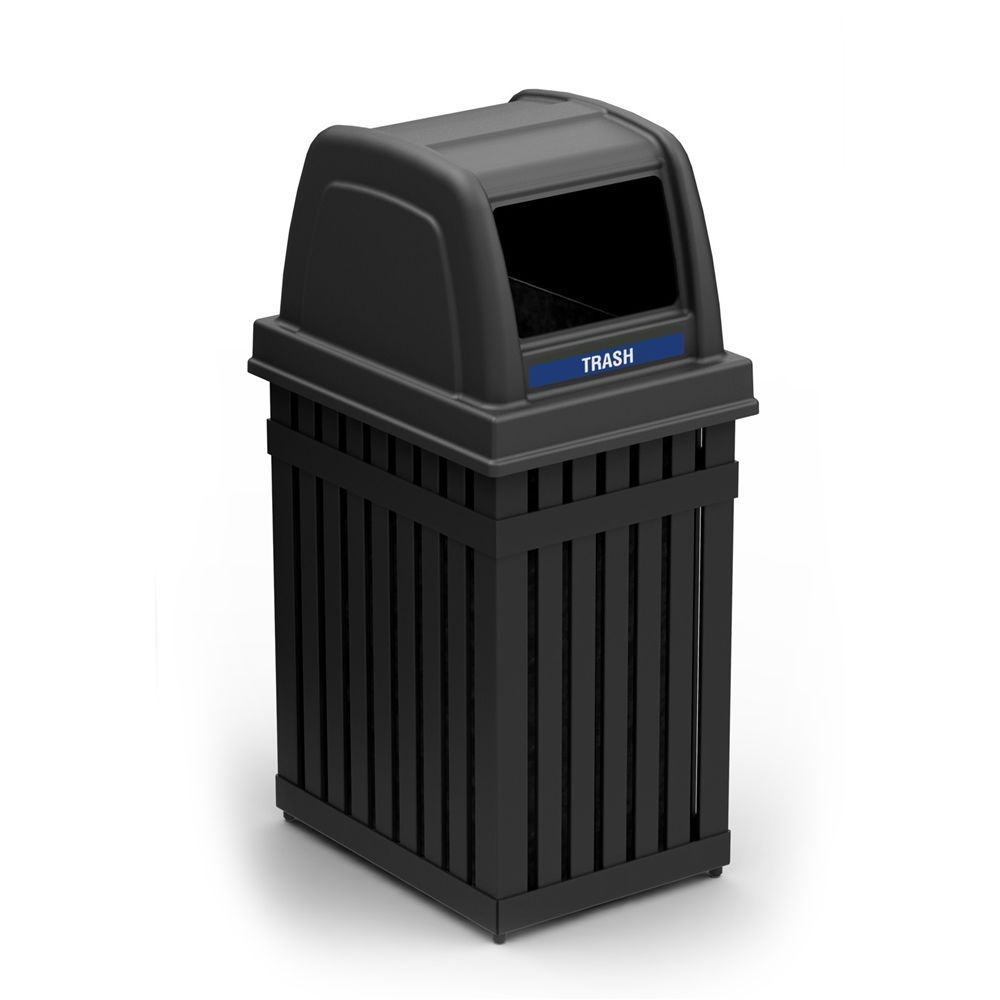 Commercial Zone® ArchTec Series® Parkview 1 Rectangle Opening 25 Gallon Waste Receptacle, Black