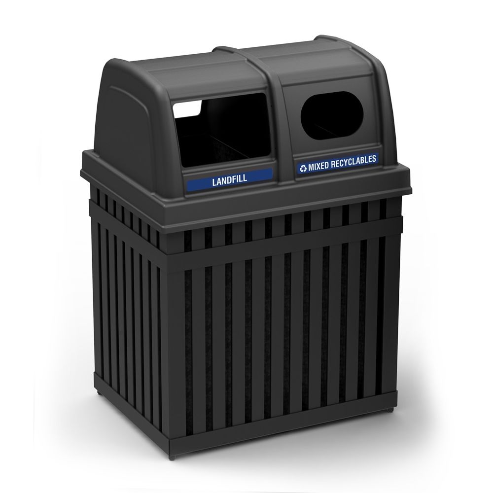 Commercial Zone® ArchTec Series® Parkview 2 Dual Trash and Recycling Center Receptacle, Black