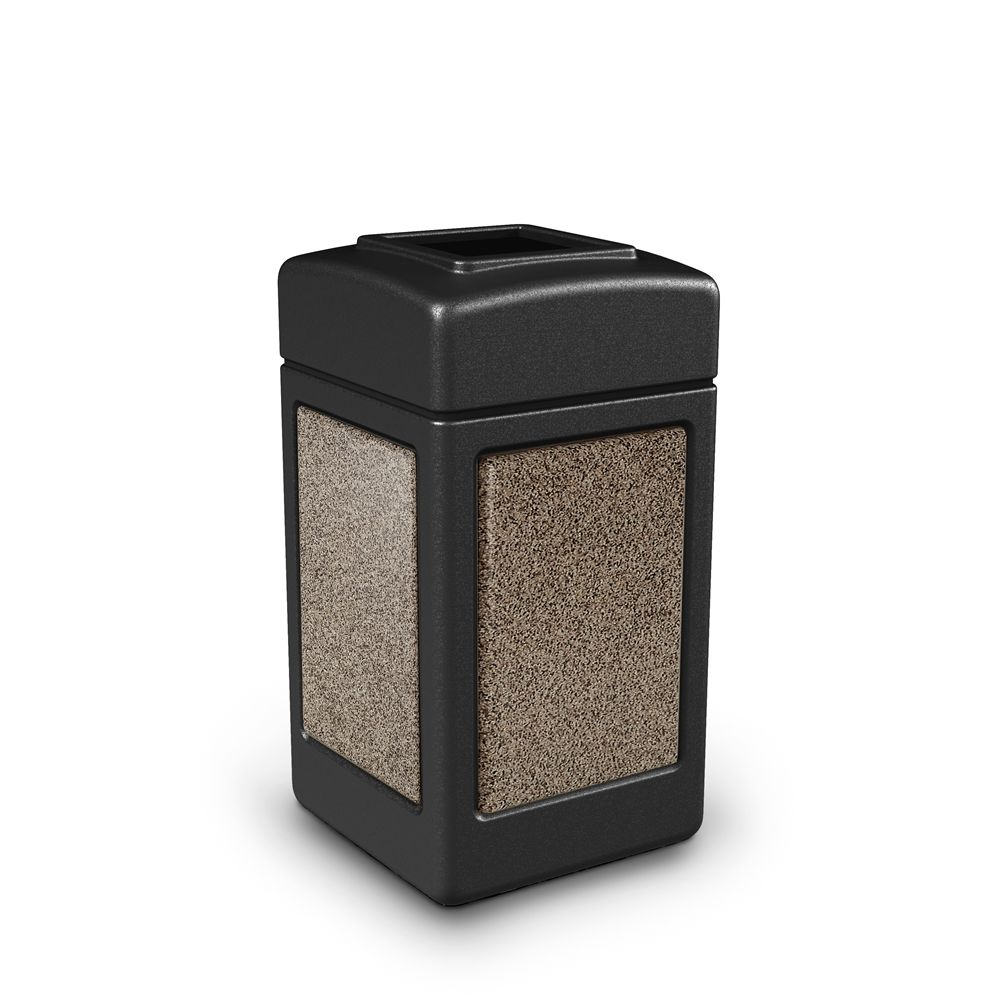 Commercial Zone® StoneTec® 42 Gallon Waste Container Open Top Black with Riverstone Panels