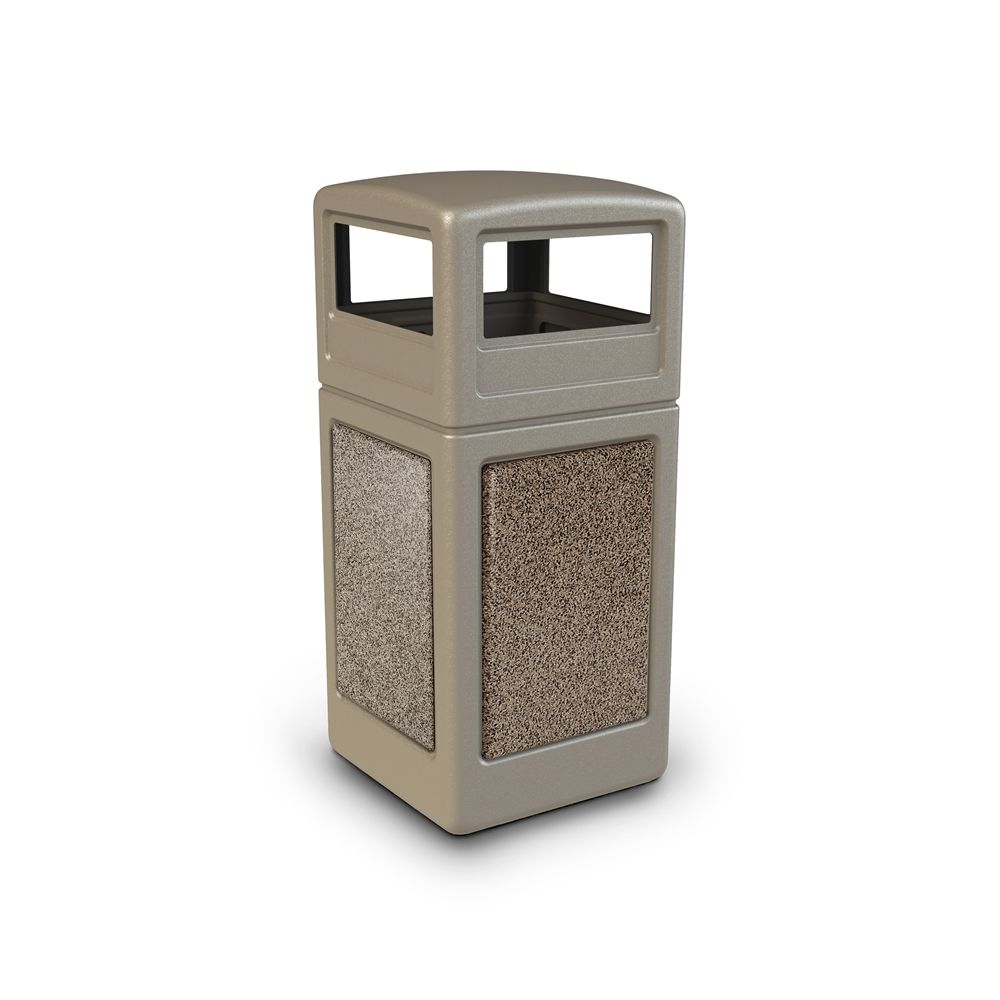 Commercial Zone® StoneTec® 42 Gallon Waste Container Dome Lid Beige with Riverstone Panel