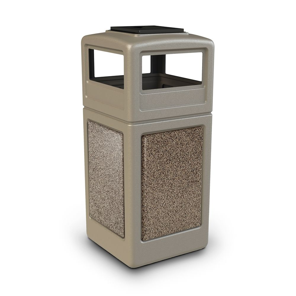 Commercial Zone® StoneTec® 42 Gallon Waste Container Ashtray Lid Beige with Riverstone Panels