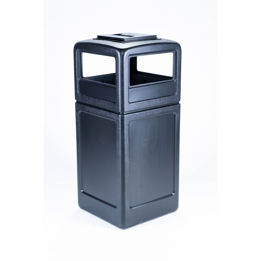 Commercial Zone® PolyTec 42 Gallon Waste Container with Ashtray Lid, Black