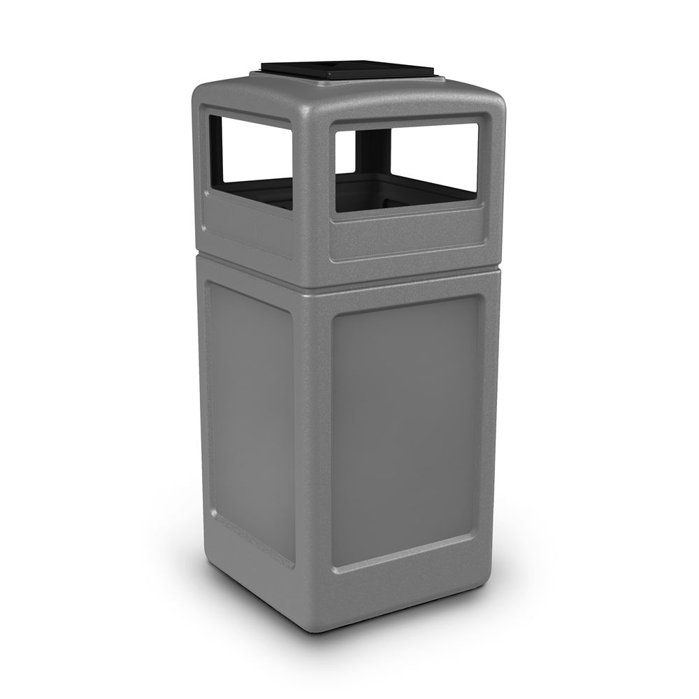 Commercial Zone® PolyTec 42 Gallon Waste Container with Ashtray Lid, Gray