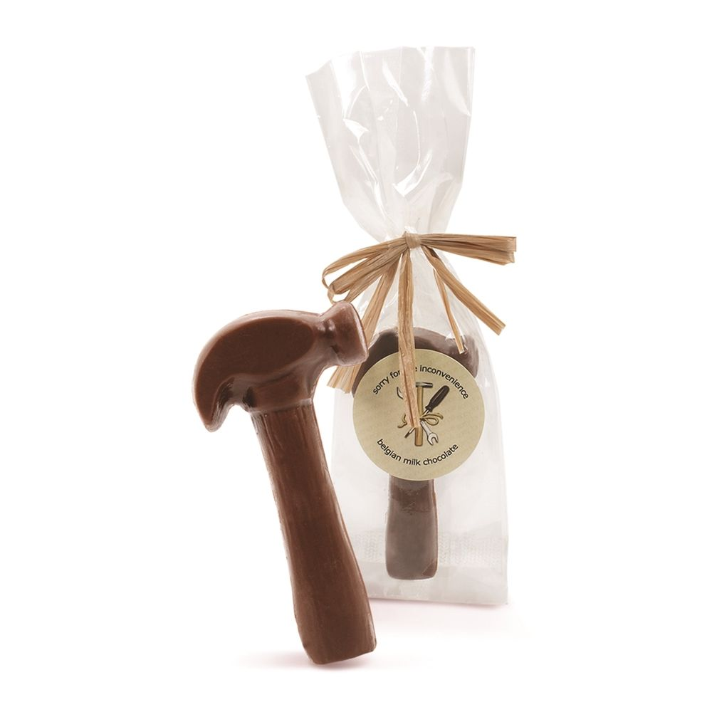 "Astor Chocolate ""Sorry for the Inconvenience"" Milk Chocolate Hammer in Cello Bag"