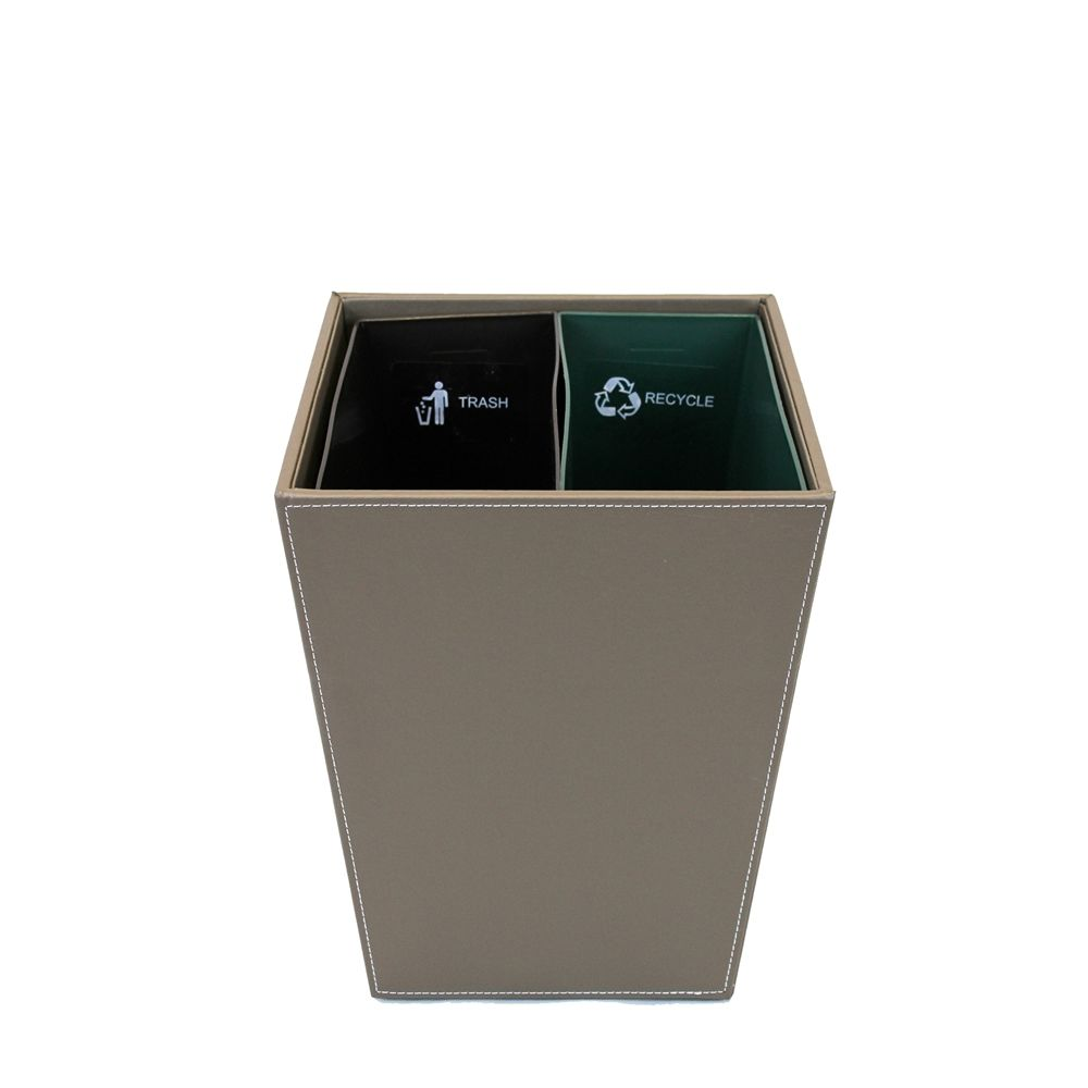14.5 Quart Dual Chamber Wastebasket/Recycle Bin, Taupe Brown