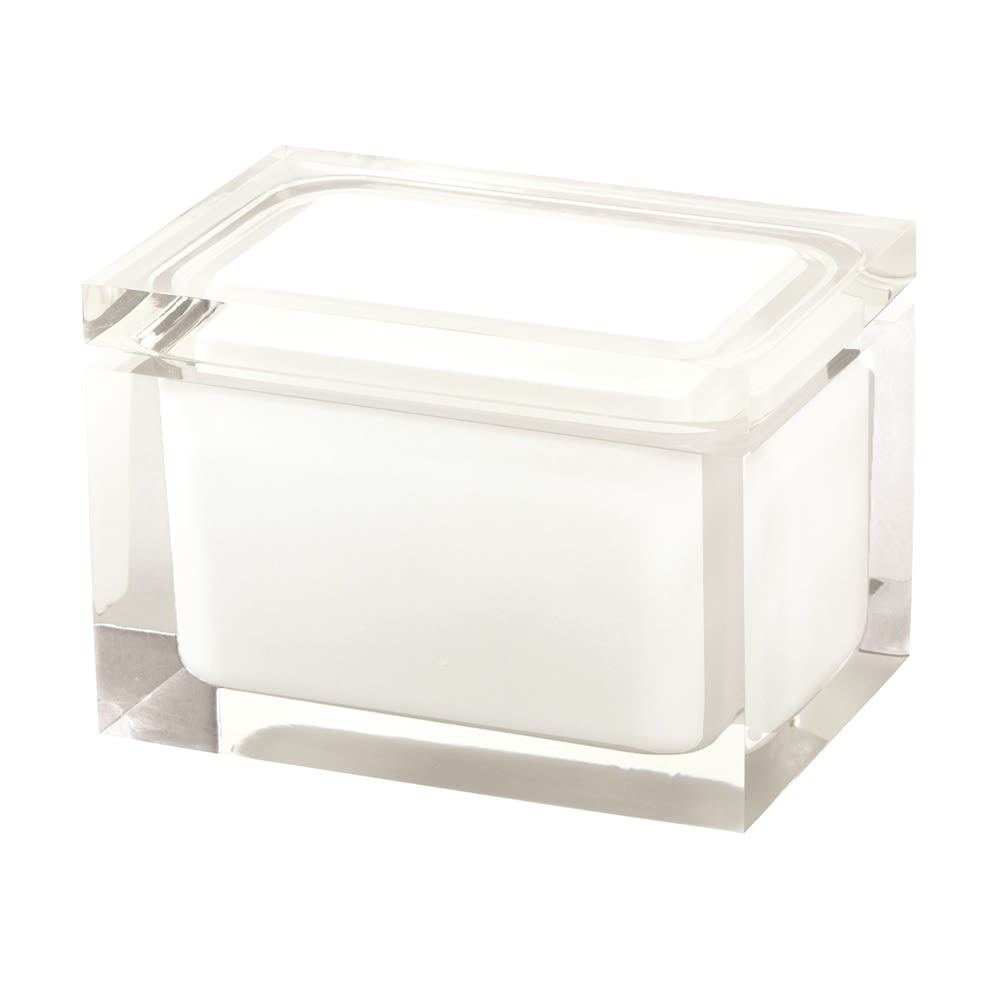 Cubix White Collection, Resin Cotton Jar, Clear/White Accent
