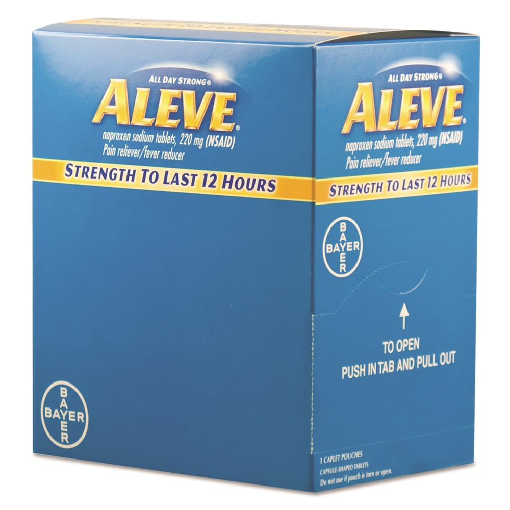 Aleve® Pain Reliever Caplets, 50 Packs/Box
