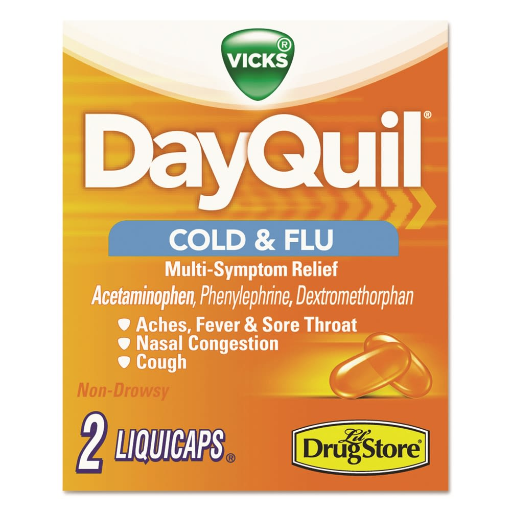 Vicks® DayQuil® Cold & Flu Caplets, Daytime, 20 Two-Packs