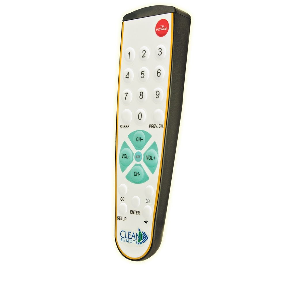 Clean Remote® Designer Series TV Remote, Micro-Texture Finish, Black with Gold Accents