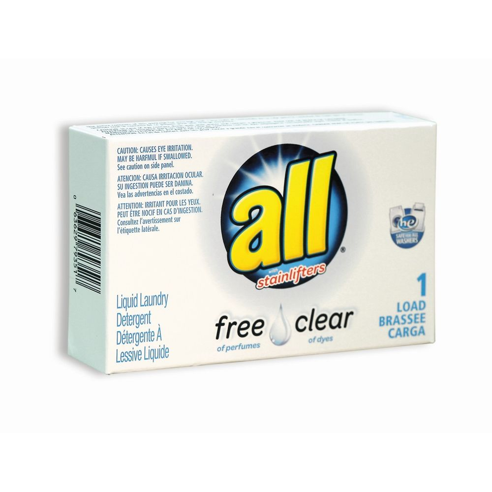 "All® Free Clear ""HE"" Liquid Detergent 1 load pouch, 1.6 oz packet/box - Single Use Coin-Vend"