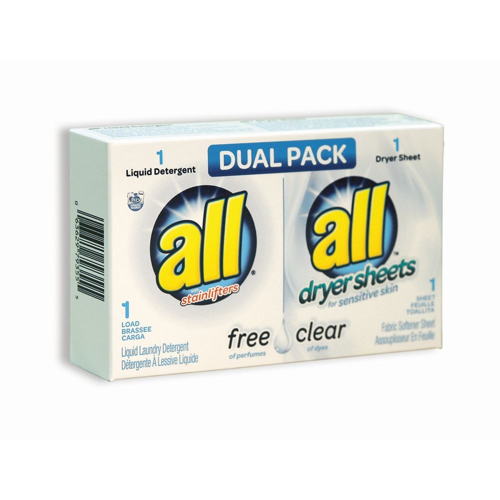 All® Free & Clear Dual Laundry Detergent 1.6 oz & Dryer Sheet Pack, Single Use Coin-Vend