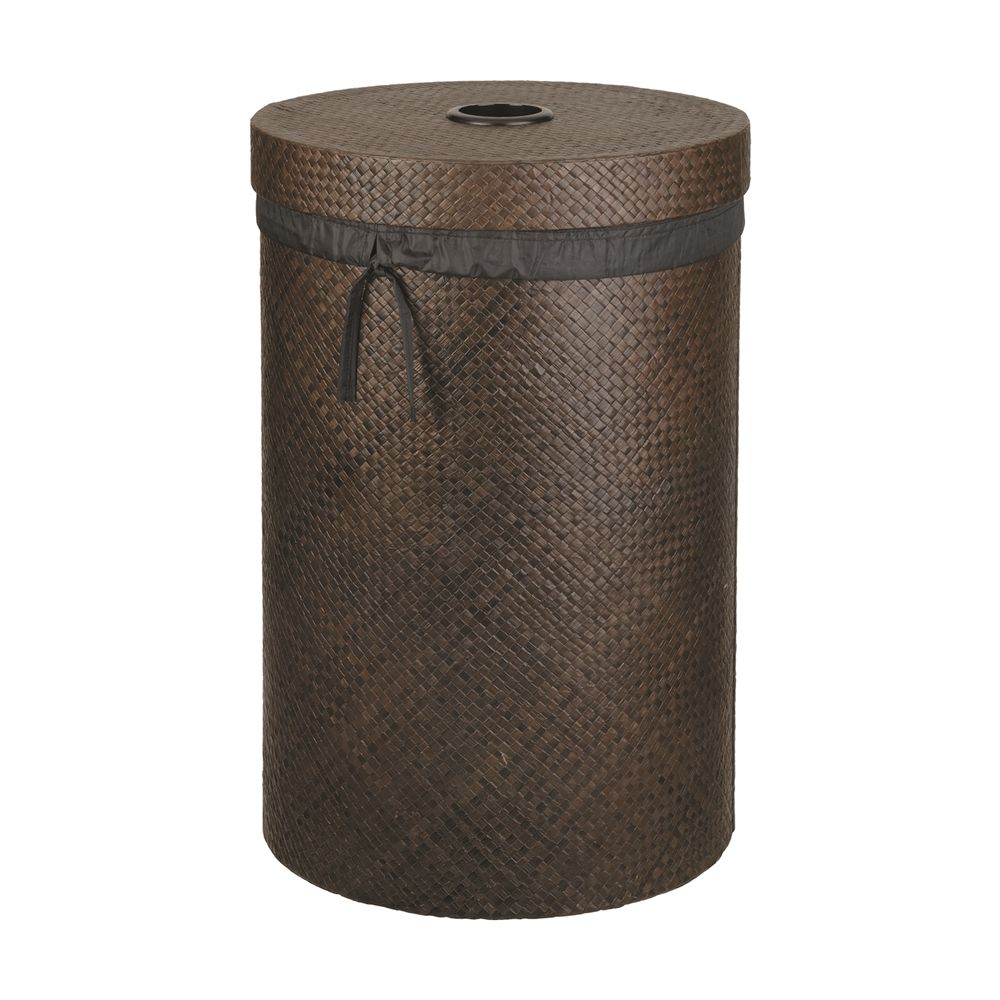 Pandan Large Round Hamper with Fabric Liner, Java