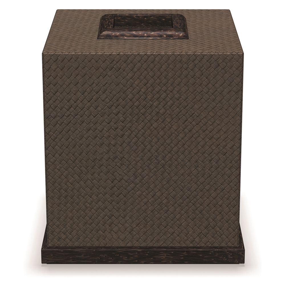Boutique Tissue Box Cover with Palm Wood Trim, Java