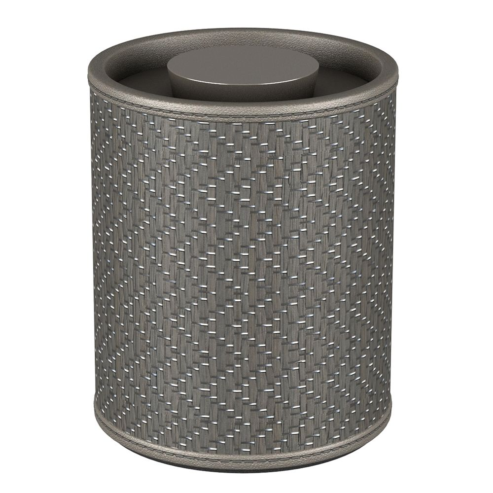 Chevron Round Canister, Gray