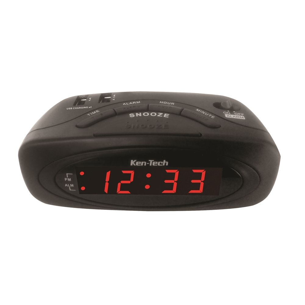 Alarm Clock with 2 USB Charging Hubs and Battery Backup, Black