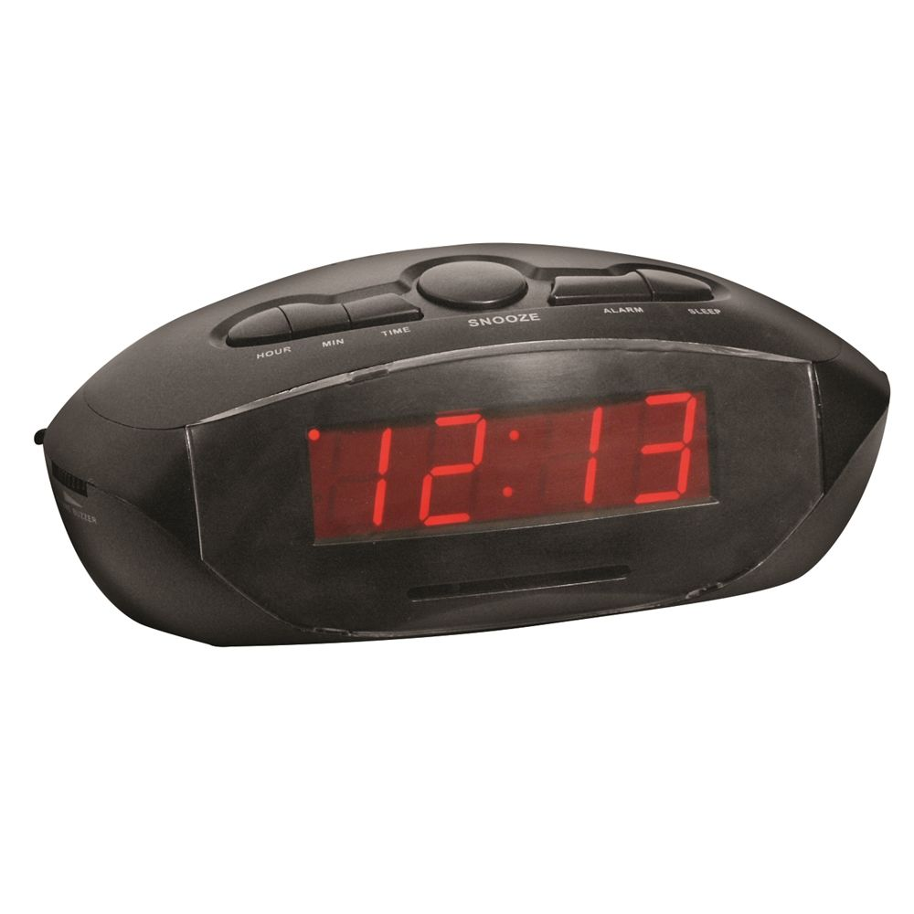 Alarm Clock with AM/FM Radio, 2 USB Charging Hubs and Battery Backup, Black