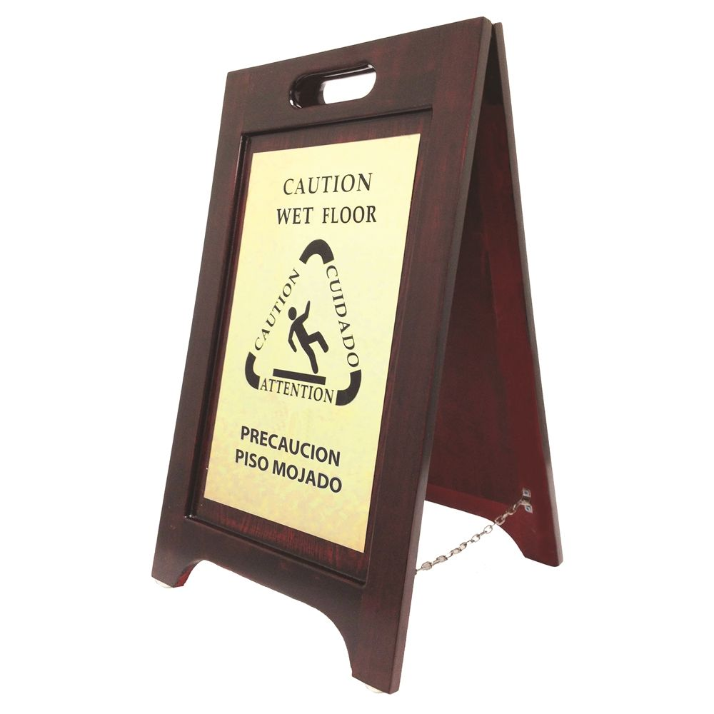 Hospitality 1 Source® Caution Wet Floor Sign, Bilingual English Spanish, Walnut Finish, Brass Plate