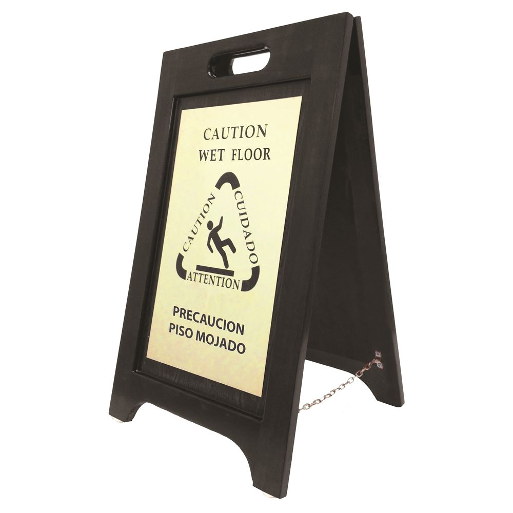 Hospitality 1 Source® Caution Wet Floor Sign, Bilingual English Spanish, Black Wood, Brass Plate