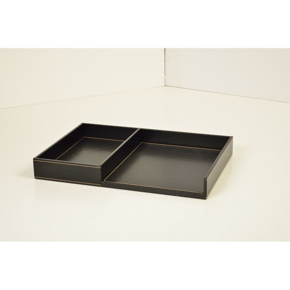 Melrose Collection Leatherette Small Divided Tray, Black