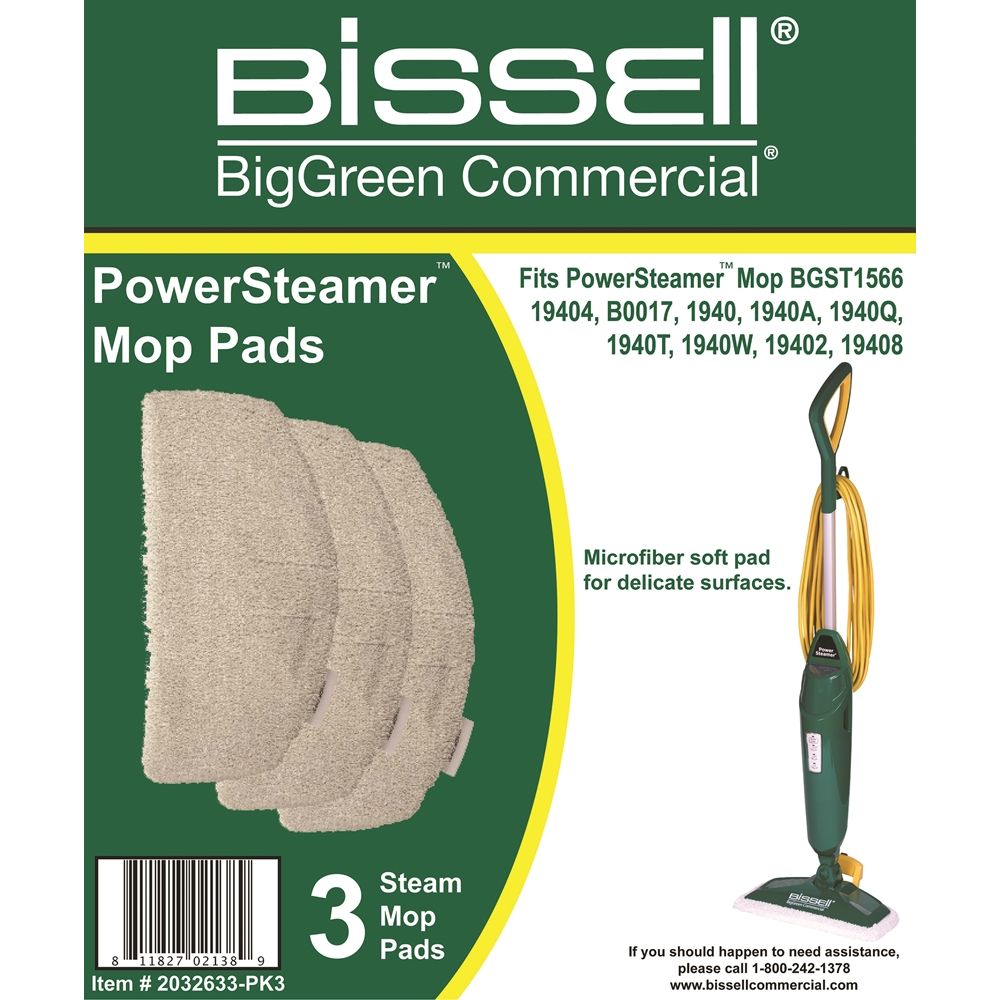 Bissell Commercial® PowerSteamer® Mop Pads 3/Pkg, White