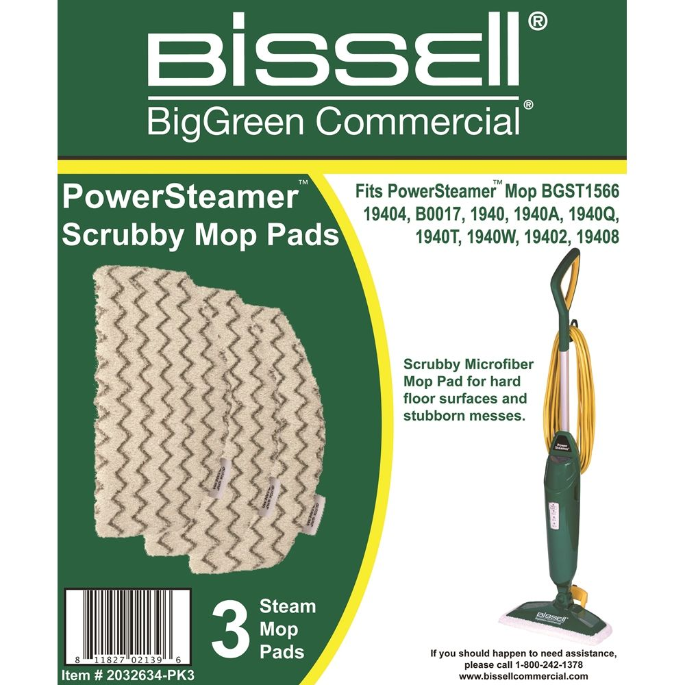 Bissell® BigGreen Commercial® PowerSteamer® Scrubby Mop Pads 3/Pkg, White