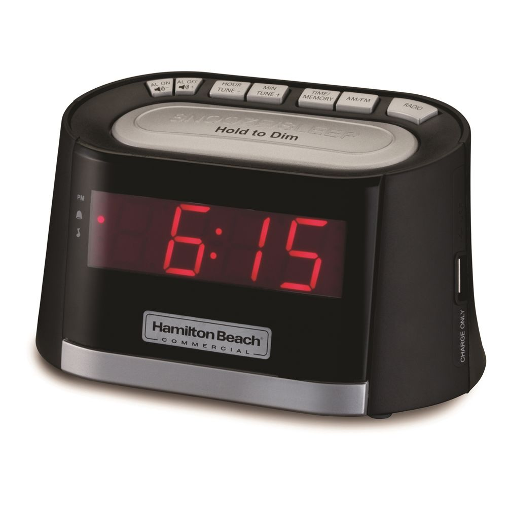 Hamilton Beach® Clock Radio with USB Charging Port, Black w/Silver Accents