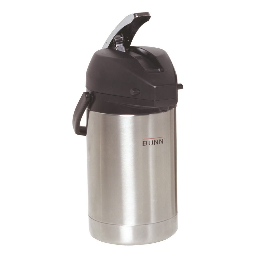 BUNN® 2.2L Lever Action Airpot, Stainless Steel/Black
