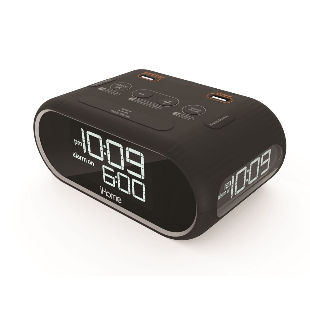 iHome HIH33B Triple Display Alarm Clock with Dual USB, Black