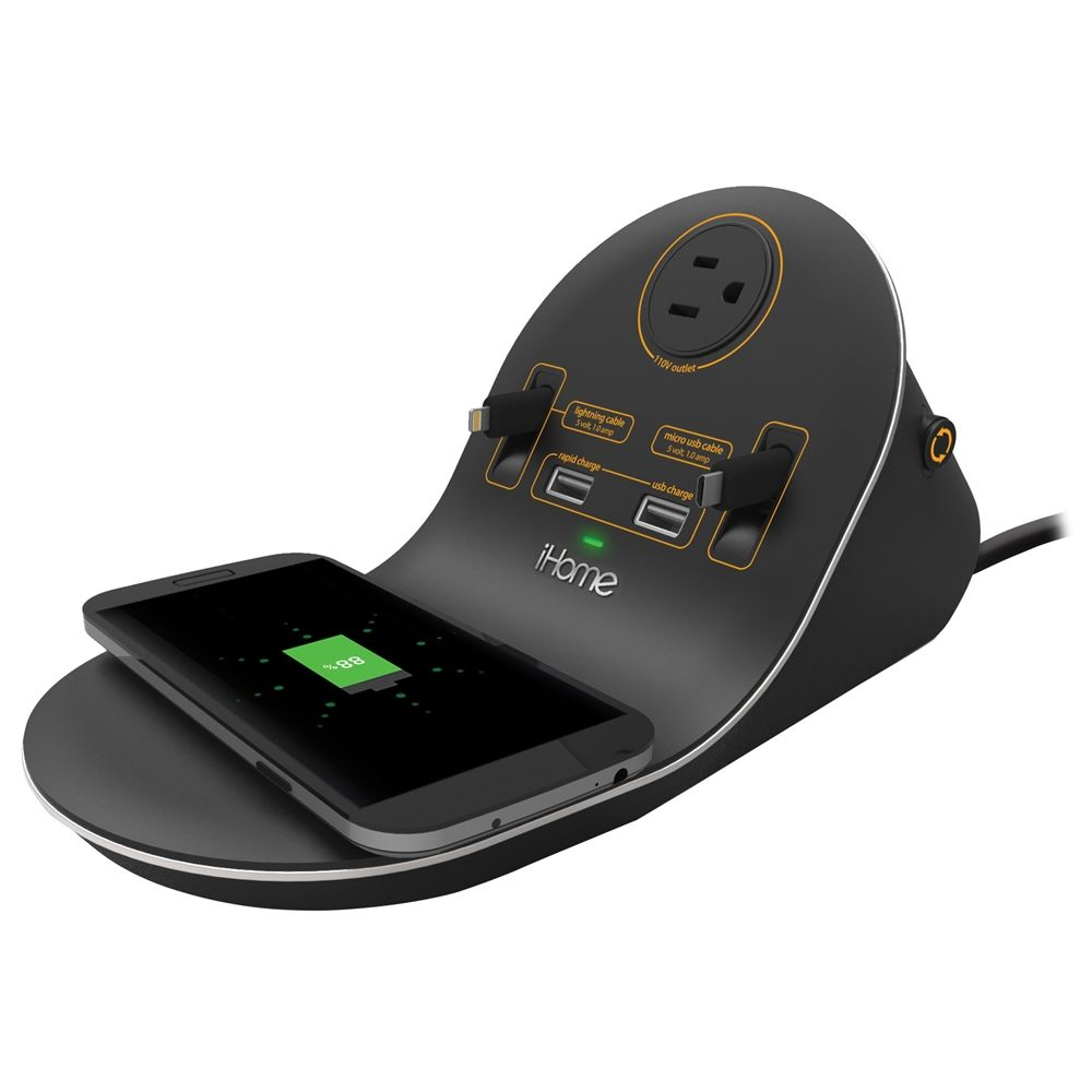 iHome HIW44B Desk Top Wireless Charging Station, 1 Outlet Port, 2 USB Ports, Black